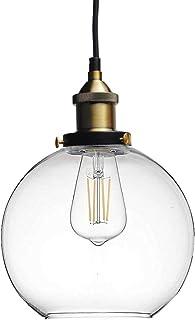Huahan Haituo szklana lampa wisząca vintage przemysłowe metalowe wykończenie przezroczysta szklana kula okrągły klosz loft...