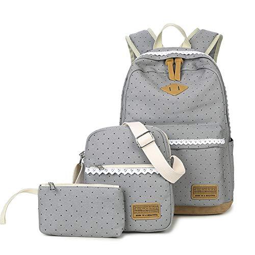 YIOL meisjeszakje, set van 3 daypack met schoolrugzak, schoudertas, portemonnee, zeildoek, dagtas met punten en punten, perfect voor school, reizen, vrije tijd