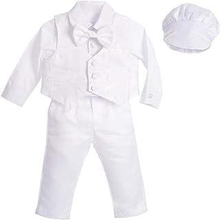 Lito Angels Costume de baptême pour bébé garçon avec Bonnet à Manches Longues Motif Floral Blanc