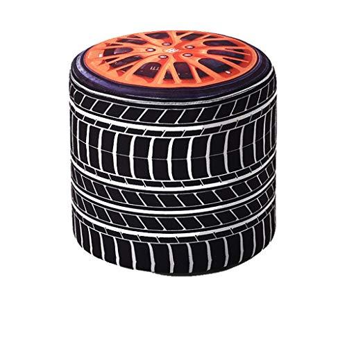 hsj LF- Taburete redondo de algodón y lino, diseño de dibujos animados para el hogar, para dormitorio, sala de estar, zapatos perezosos, cómodos (color : neumático de coche)