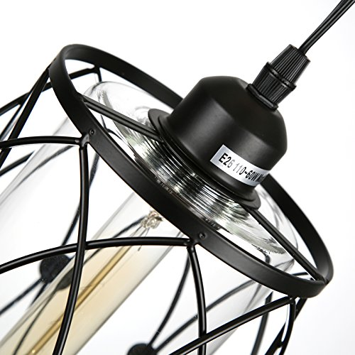 HMVPL Swag Plug-in Pendant Light with 16.4 Ft Hanging Cord and On/Off Dimmer Switch,Original Industrial Cage and Glass Lampshade Design for Dining Room, Bed Room,Hallway and More