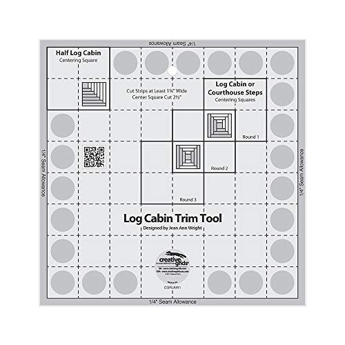 Creative Grids Log Cabin Trim Tool for 8in Finished Blocks Quilt Ruler - CGRJAW1