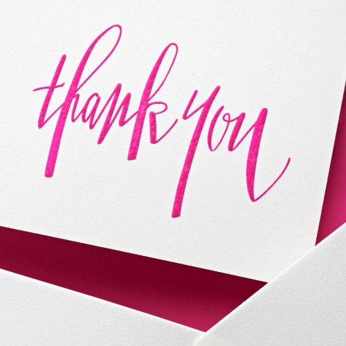 Crane & Co. Hand Engraved Raspberry Thank You Notes (CT1315), Pack of 10 Photo #2