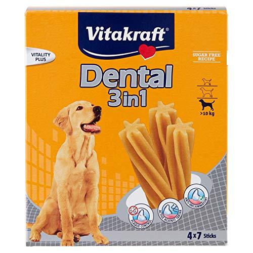 avis marque de boite pour chien professionnel VITAKRAFT Multipack Dental 3 en 1 – Snack pour chien – Taille M – Boîte de 4 sachets de 7 bâtonnets chacun