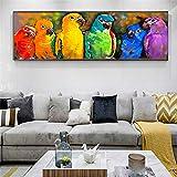 KWzEQ Pintura sin Marco Acuarela Loro Pintado en la Pared de Animales Modernos Pop Art Colorido Loro decoración de la paredAY6722 20X60cm