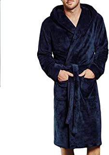 jin&Co Mens Robe Plush Long Pure Colour Super Soft Flannel Shawl Collar Fleece Bathrobe Spa Robes