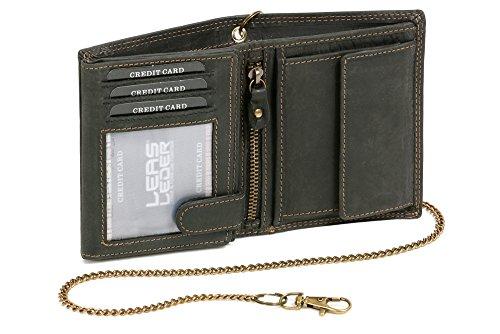 LEAS MCL Bikerkombibörse im Hochformat mit Kette Vintage-Stil in Echt-Leder, schwarz - LEAS Chain-Series