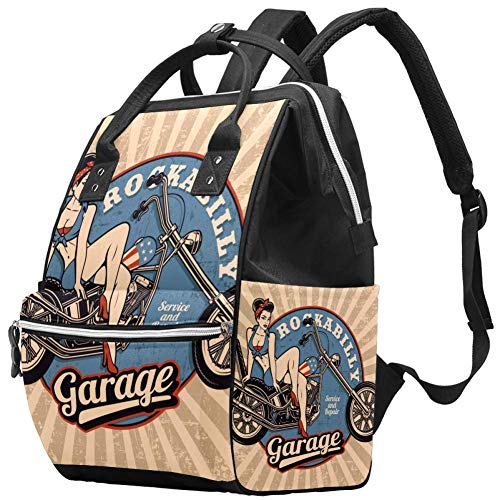 Grand sac à langer multifonction pour bébé - Pour maman et papa - Vintage Pin Up Girl - Monochrome