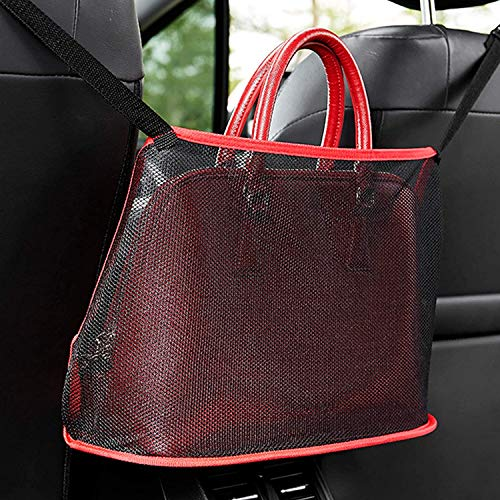 Car Handbag Holder, Springhall car net pocket handbag holder Car Purse Hook Car Storage & Pocket for Smaller Items, Helps as Dog Barrier Driver Storage Netting Pouch with Bag on Back (Red)