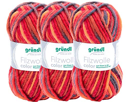 Max Gründl, 2614-21 Filzwolle Color, 3 Knäuel á 50g (rot-orange-schwarz Multicolor)