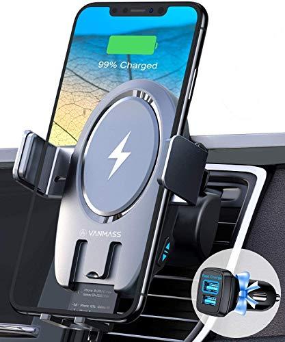 VANMASS 15W Fast Wireless Charger Auto Handyhalterung Automatischer Motor Betrieb Qi Auto Ladestation Kfz Handygalterung Auto mit 2 Lüftungsclips Induktives Ladegerät für iPhone Samsung Huawei LG usw