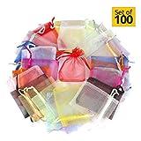 Sacchetti di organza (100 Pezzi 10 Colori)- Portaconfetti Sacchetti Regalo Buste di Matrimonio Festa Favore Gioielli -(15 X 20 cm)