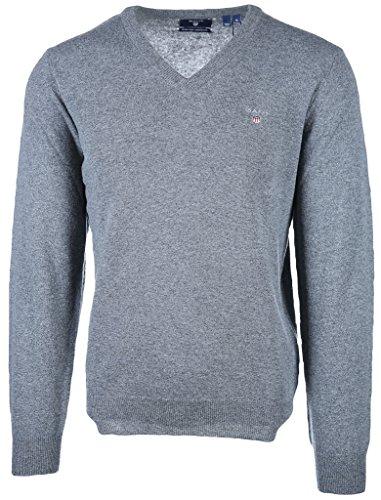 Gant - Pullover da uomo in lana extra fine, scollo a V Grigio (Dark Grey Melange 92). XXXXXL