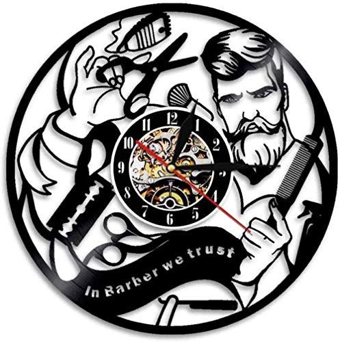 ZYBBYW 1 Barbería Reloj de Pared con Disco de Vinilo Peluquería Salón de Belleza Boutique Reloj de Pared Decoración de Peluquero Regalos Confiamos en los peluqueros-None_Led_Light