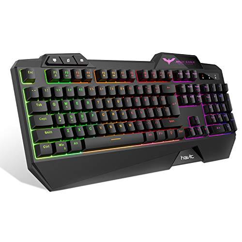 Preisvergleich Produktbild havit Gaming Tastatur,  LED Hintergrundbeleuchtung QWERTZ Tastatur mit USB-Kabel (DE-Layout),  Beliebige 6 Tasten ohne Konflikt,  Schwarz (KB391L)