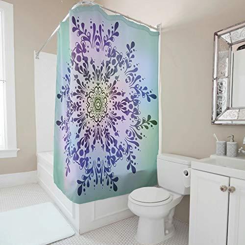O5KFD & 8 Magie Multicolor Gradient Mandela patroon print douchegordijn universeel roestbestendig badkuipgordijn met haken - amandela kunst voor woonhuis decoreren