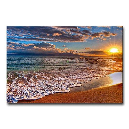 So Crazy Art -Playa Amanecer Paisaje Marino Cuadros en Lienzo Las Olas del Mar Decoracion de Pared 24x36inch Modernos Mural Fotos para Salon,Dormitorio,Baño,Comedor