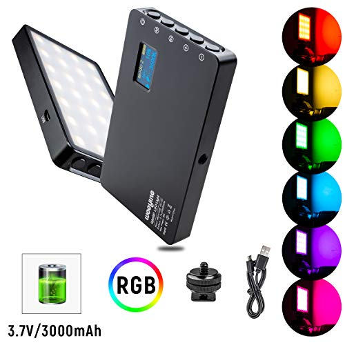 [Upgrade] RGB LED Video Light, Portable Mini Rechargeable LED On Camera Light for Photography Camcorder Shooting with Dimmable 2500-8500K 360° Full Color 8 Modes Built-in Battery Aluminum Alloy Shell