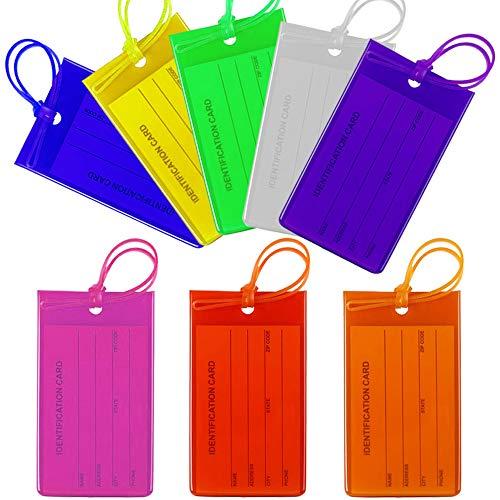 AILANDA 8 Stück Gepäckanhänger Kofferanhänger mit Adressschild Kofferschild Namensschild Adressanhänger Koffer Etiketten Anhänger für Tasche Koffer Gepäck