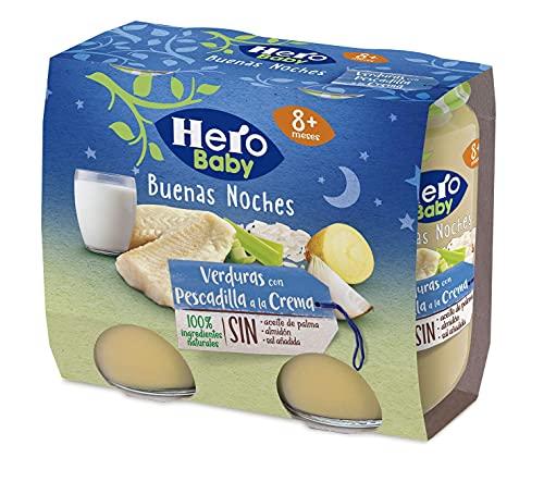 Hero Baby Buenas Noches Tarritos de Verduritas con Pescadilla a la Crema - Para Bebés a Partir de los 8 Meses - Pack de 2x190gr