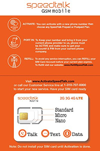 SpeedTalk Mobile Complete Multi-Purpose Triple Cut SIM Card Starter Kit - No Contract (Standard, Micro, Nano)