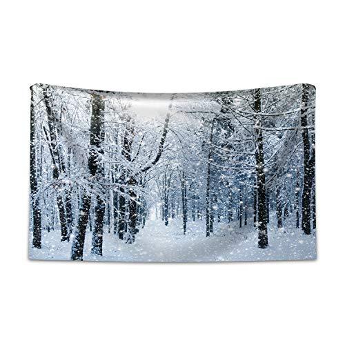ABAKUHAUS Inverno Tappeto da Parete e Copriletto, Neve Foresta Coperto, più Tecnologia Moderna Digitale, 230 x 140 cm, Nero Bianco Blu Ardesia
