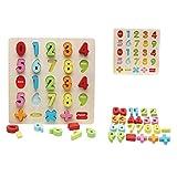 Wings of wind - Número de Madera Educación de la Primera Infancia Toys Handle Board Puzzle de Aprendizaje temprano para niños (14 Pcs)
