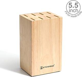 KITCHENDAO Bloque de Cuchillos para Cuchillos de 5,5 Pulgadas - 8 Ranuras para un Porta Cuchillos Seguro y Que Ahorra Espacio - Soporte de Madera ecológico para cajones