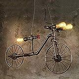 KDMB Lámpara Colgante con Pantalla de luz, Tubo de Agua rústico, luz de Techo para Bicicleta, lámpara Colgante Industrial con diseño Vintage, CREA la atmósfera Bar, Restaurante, CAF