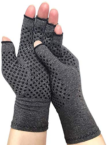 David Copper Compression Cotton Arthritis Gloves. Best Copper Infused Glove for Arthritis Hands, Arthritic Fingers, Carpal Tunnel, Computer Typing, Hand Support. Fingerless for Women and Men (Large)