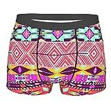 Alvaradod Men's Underwear,Colorful Cultural Art Borders Vintage Figures AbstrNEIKUt Rich Motifs Mayan Mexican,Boxer Briefs Breathable Comfort Underpants Size XL