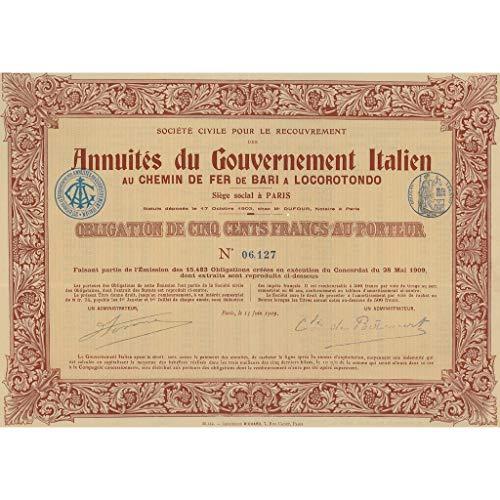 scripofilia - ANNUITES DU GOV. IT. - CHEMIN DE FER BARI/LOCOROTONDO- 1 OB. PARIS 1909