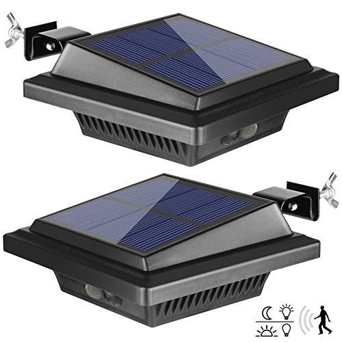 Dachrinne Solarleuchte mit Bewegungsmelder 40 LEDs   BILLION DUO Solarlampen für Außen   Schwarz Gartenbeleuchtung Warmweißes Solarlicht, 3W PIR Sicherheitswandleuchte Außenlampe für Garage