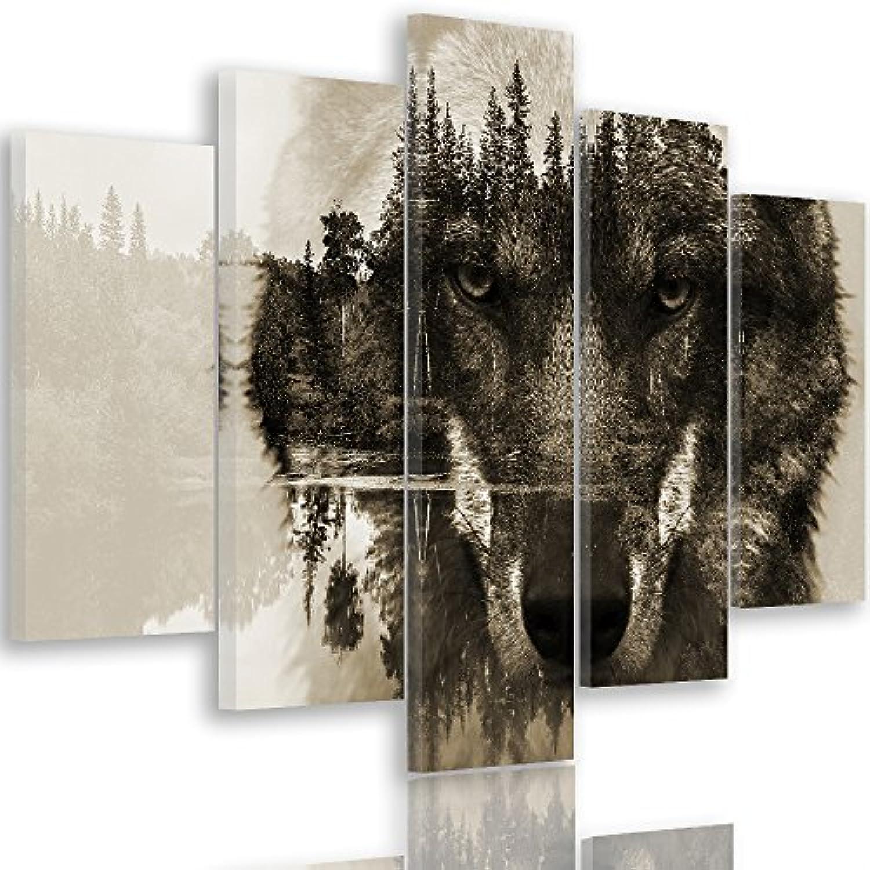 Feeby Frames Leinwandbild, Bilder, Wand Bild - 5 Teile - Wandbilder, Kunstdruck XXL, Typ A, 150x100 cm, Tiere, Wolf, Natur, Wald, Bume, Augen, Grau