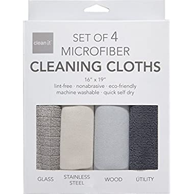 Clean It Microfiber Cleaning Cloths, Polyester-Polyamide Blend, Set of 4, 16-Inches x 19-Inches