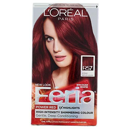 L'Oreal Paris Feria Permanent Haircolor, R57 Intense Medium Auburn 1 ea (Pack of 4)