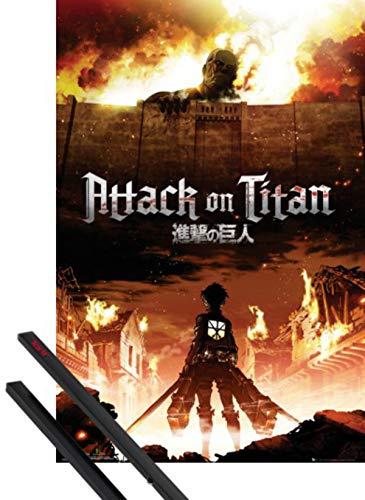1art1 L'Attaque des Titans Poster (91x61 cm) Mikasa Ackerman Et Kit De Fixation Noir