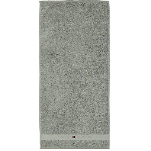 TOMMY HILFIGER Frottee LEGEND 2er Set Waschlappen 30 x 30 Handtücher 100% Frottee aus reiner Baumwolle silber