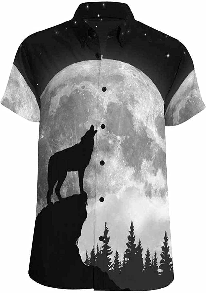 InterestPrint BlackWhite Moon Direct store Wolf Button Max 69% OFF Shirts Standard- Down