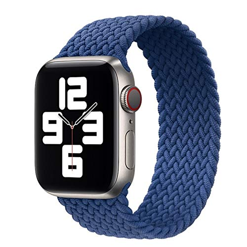 Sorteo Nueva Correa elástica de Nylon para Apple Watch 6 SE Banda para iWatch Serie 5 4 3 Pulsera de cinturón Trenzado Solo Loop 38mm 40mm 42mm 44mm (Band Color : Blue, Size : 42 44mm M)