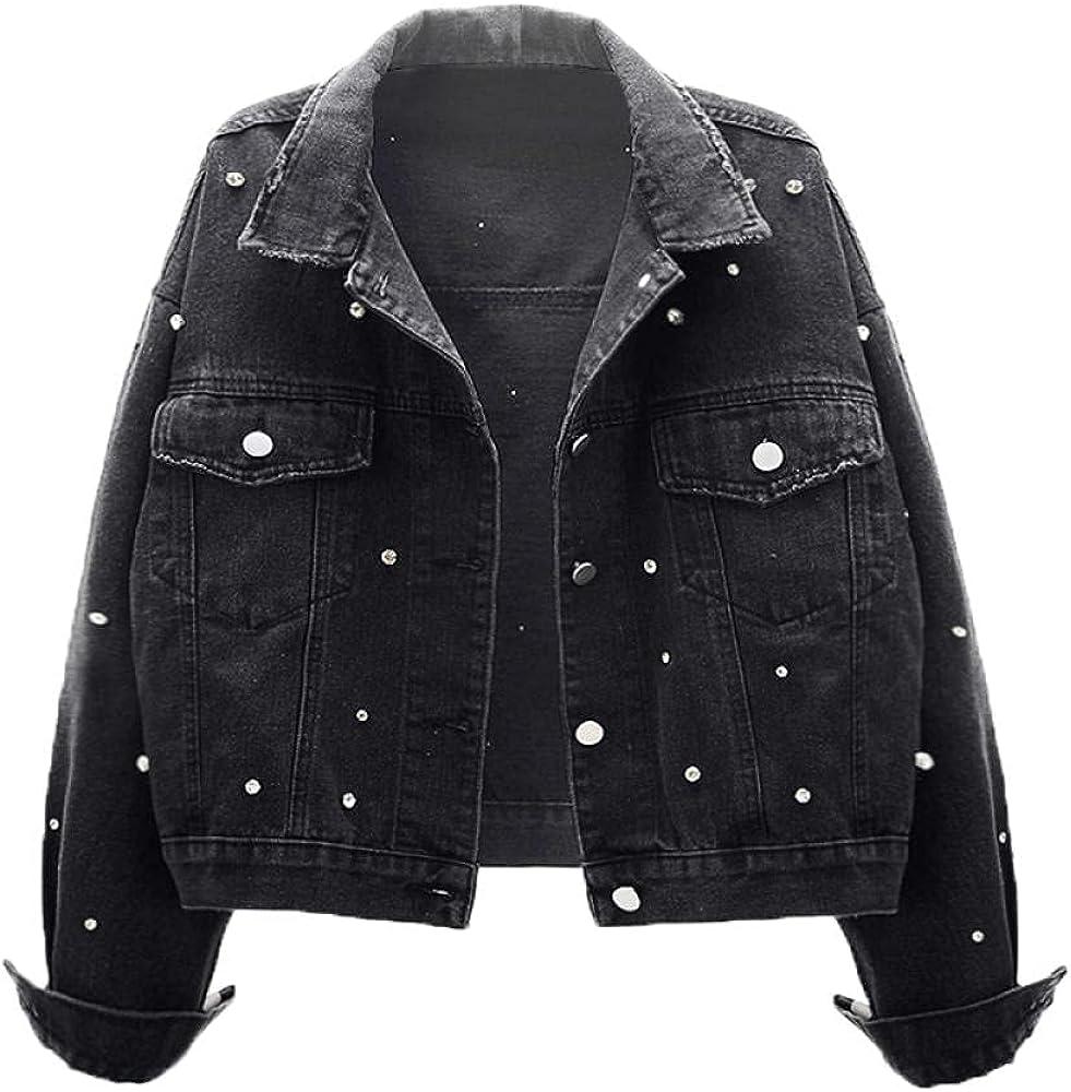 Black Vintage Oversized Women Short Jeans Jacket with Pearls Diamonds Spring Streetwear Denim Coat Loose Outwear