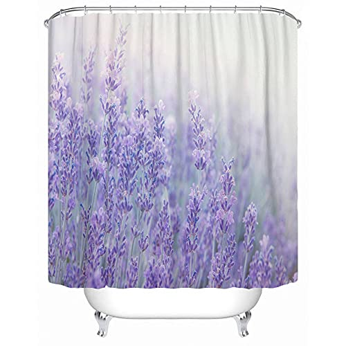 Emvency Fabric Shower Curtain with Hooks Lavender Flowers at Sunlight in Focus Pastel Colors and Blur Violet Lavande Field 60'X72' Decorative Bathroom