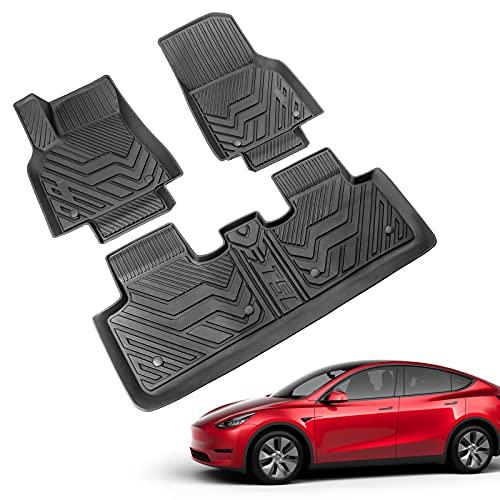 the floor mats Xipoo Fit Tesla Model Y Floor Mats Liners All Weather Car Floor Mats TPE Floor Protection for 2020 2021 Tesla Model Y Accessories (Floor Mats)
