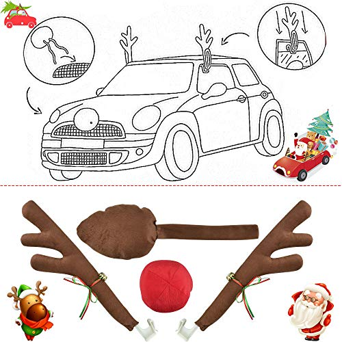 XAVSWRDE 4 Pcs Christmas Reindeer Antlers Car Decoration Kit, Flannel Rudolph Antlers with Jingle Bells Car Antlers and Nose Brown Tail Vehicle Christmas Decorations Xmas Costume Auto Accessories