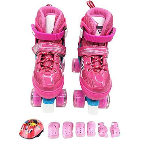 Inline skates Rolschaatsen voor kinderen Voor 2-in-1 quad skates Verstelbare rolschaatsen Dames Meisjes Peuters Jeugd 12-4 jaar Verjaardagscadeautjes, Roze-S (26-32) Code