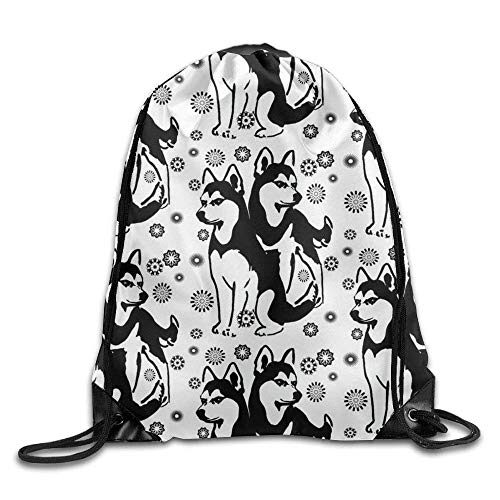Yuanmeiju Drawstring Backpack Kids Adults Waterproof Bag for Gym Traveling Siberian Husky with Snowflakes