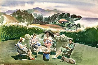 California Watercolor Fine Art Print, Santa Barbara Knitters, by Barse Miller, 14 x 21 inches