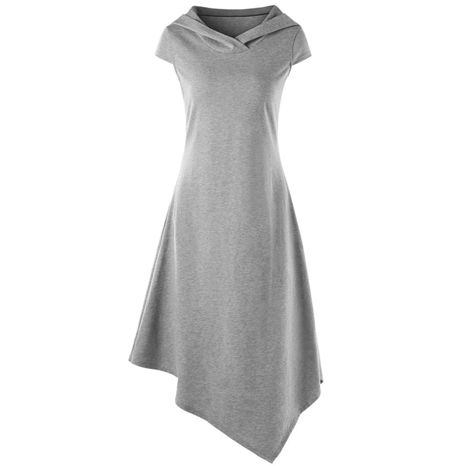 Women's Hooded Irregular Hem Dress Brief Stylish Summer Holiday Daily Casual Comfy Dress Cut Out Midi Dress