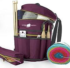 Stitch Happy Knitting Bag (Purple): 7 Pocket Yarn Bag, Crochet Bag, Yarn Storage, or Crochet Storage