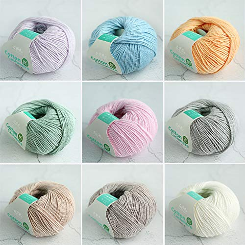 YUANP Hilo De Algodón para Tejer (3X 50g) Hilo De Lana De Ganchillo Tejido A Mano Grueso Suave Cálido para Suéteres Sombreros Bufandas DIY,9colors2